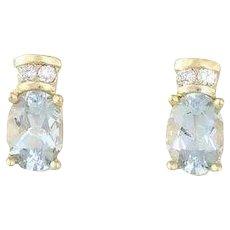 Natural Aquamarine and Diamond Earrings 14k Yellow Gold Stud Post