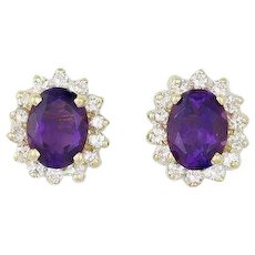 Natural Amethyst and Diamond Stud Earrings 14k Yellow Gold
