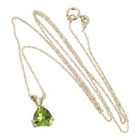 10K Yellow Gold Natural Peridot Necklace 18 inch chain