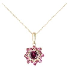 Natural Pink Tourmaline Necklace 14k Yellow Gold with 18 inch chain