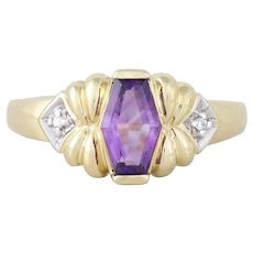 14k Yellow Gold Natural Purple Amethyst and Diamond Ring Size 7