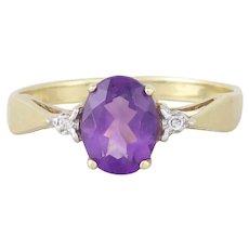 10k Yellow Gold Purple Amethyst and Diamond Ring Size 7 1/4