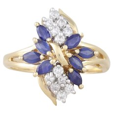 14k Yellow Gold Natural Blue Sapphire and Diamond Cluster Ring Size 7