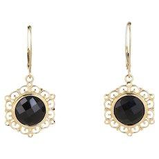 14k Yellow Gold Onyx Earrings Dangle Drop Earrings