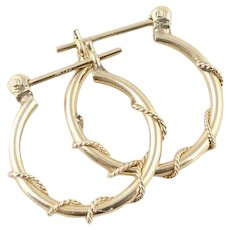 14k Yellow Gold Hoop Earrings 3/4 Inch Round