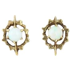Antique  Opal Earrings 10k Yellow Gold Post stud
