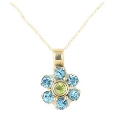 Natural Blue Topaz and Peridot Flower Necklace 10k Yellow gold 18 inch chain