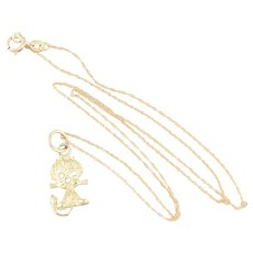 """Dainty 14k Yellow Gold Kitty Cat Necklace 18"""" Chain"""