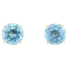 Natural Blue Topaz Stud Post Earrings 10k Yellow Gold