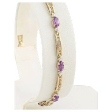 10k Yellow Gold and White Gold Natural Amethyst Bracelet with White Gold Beaded Accents