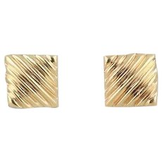 14k Yellow Gold Earrings Square Stud Post Earrings