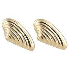 14k Yellow Gold Earrings Sea Shell Stud Post Earrings