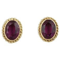 Purple Glass Simulated Amethyst 14k Yellow Gold Earrings Stud Post Earrings