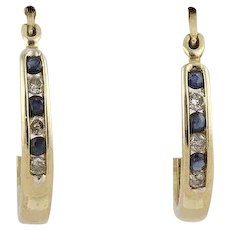 Natural Sapphire and Diamond Earrings Hoop 10k Yellow Gold