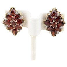 Natural Garnet and Diamond 10k Yellow Gold Stud Post Earrings