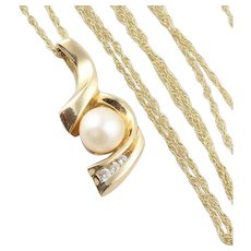 Cultured Pearl and Diamond Necklace 14k Yellow Gold 18 inch Chain