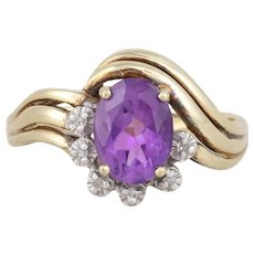 10k Yellow Gold Natural Purple Amethyst and Diamond Ring 6 1/2
