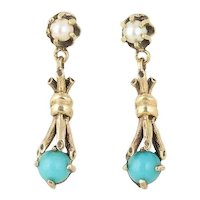 Antique Turquoise and Pearl Earrings 14k Yellow Gold Dangle Drop Earrings