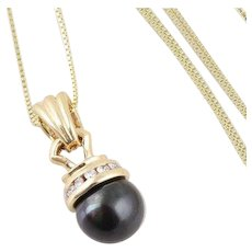 Cultured Black Pearl and Diamond Necklace 14k Yellow Gold 18 inch Chain