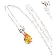 Orange Sapphire Padparadscha Necklace 14K White Gold 18 inch chain