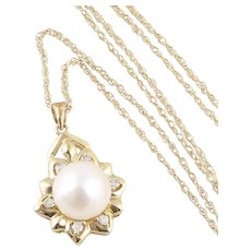 Cultured Pearl and Diamond Necklace 10k Yellow Gold 20 inch Chain