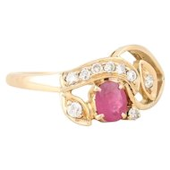 14k Yellow Gold Natural Ruby and Diamond Ring Size 5 3/4