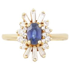 Natural Blue Sapphire and Diamond Ring 14k Yellow Gold Ballerina Ring Size 6