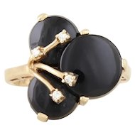 Onyx and Diamond Ring 10k Yellow Gold Retro Ring Size 6 1/2