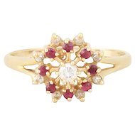 Natural Ruby and Diamond Ring 14k Yellow Gold Size 6 3/4