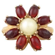 Garnet and Created Pearl Flower Ring 10k Yellow Gold Size 5 1/2