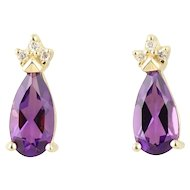 Natural Amethyst and Diamond Earrings 14k Yellow Gold Stud Post Earrings