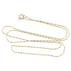 14K Yellow Gold Flat Link Twist Choker Chain Necklace 16 inch