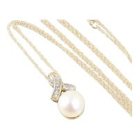 Pearl and Diamond Ribbon Necklace 18 inch Chain 10k Yellow Gold