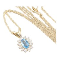 Natural Blue Topaz and Diamond Necklace 18 inch chain 14K Yellow Gold