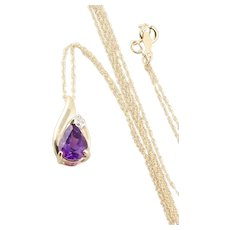 "Natural Purple Amethyst and Diamond Necklace 18"" Chain 14k Yellow Gold"