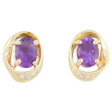 Natural Amethyst and Diamond Stud Post Earrings 14k Yellow Gold