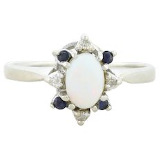 Natural Opal Sapphire and Diamond Ring 10k White Gold Size 7