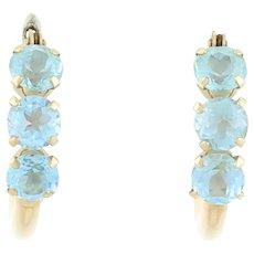 Natural Blue Topaz Hoop Earrings 10k Yellow Gold