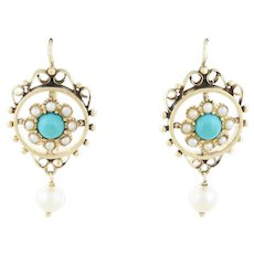 Antique 14k Yellow Gold Robin's Egg Blue Turquoise and Pearl Earrings Dangle Drop Earrings