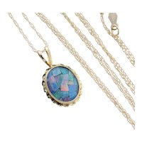 Black Mosaic Opal Triplet Necklace 18 inch chain 10k Yellow Gold