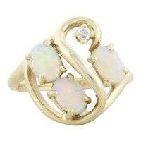 Natural Australian Opal and Diamond Ring 14k Yellow Gold Size 5 1/2