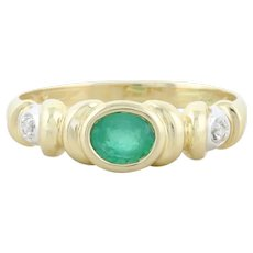 Natural Green Emerald and Diamond Band Ring 14k Yellow Gold Size 6 1/2
