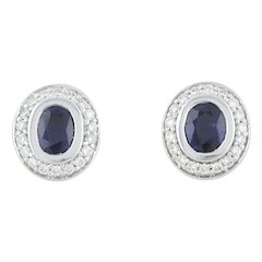Natural Sapphire and Diamond Halo Stud Post Earrings 14k White Gold
