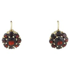 Bohemian Natural Garnet Flower Dangle Drop Earrings 14k Yellow Gold