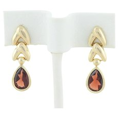 Natural Garnet Dangle Drop Earrings 14k Yellow Gold