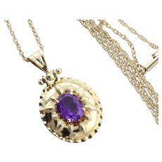 """14k Yellow Gold Natural Purple Amethyst Necklace 18 1/4"""" inch Chain"""