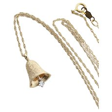 14k Yellow Gold Diamond Bell Necklace 19 inch chain