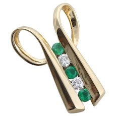 14k Yellow Gold Natural Emerald and Diamond Slide Pendant Only