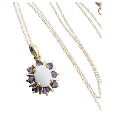 Natural Opal and Tanzanite Flower Necklace 18 inch chain 10k Yellow Gold