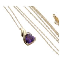 """Natural Purple Amethyst and Diamond Necklace 18"""" Chain 14k Yellow Gold"""